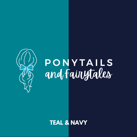 Teal & Navy Hair Accessories Assorted Hair Accessories School Ponytails - Colours