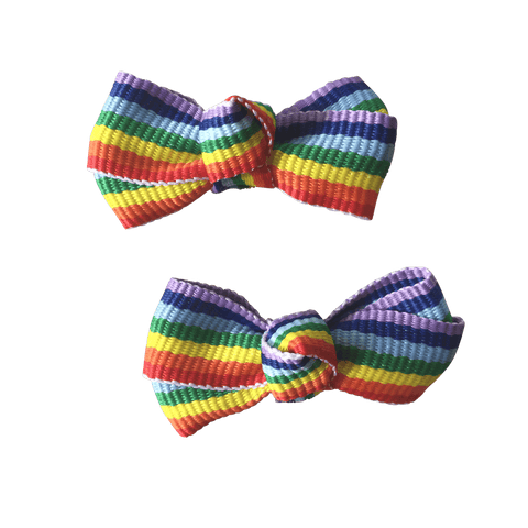 Tiny Rainbow Bowties - Ponytails and Fairytales