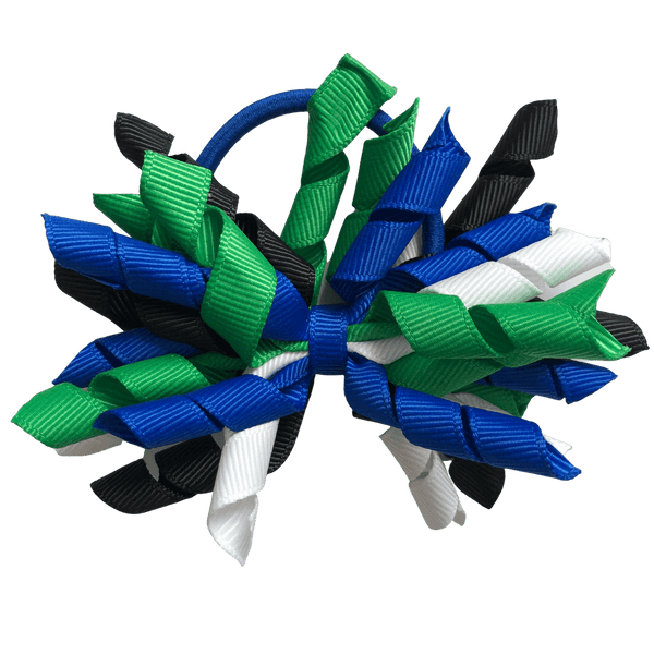 Torres Strait Islander Colours - Green, Blue, Black, & White Hair Accessories - Assorted Hair Accessories - School Uniform Hair Accessories - Ponytails and Fairytales