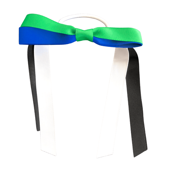 Torres Strait Islander Colours - Green, Blue, Black, & White Hair Accessories Assorted Hair Accessories School Ponytails - Colours Ponytail Bow (hair tie)