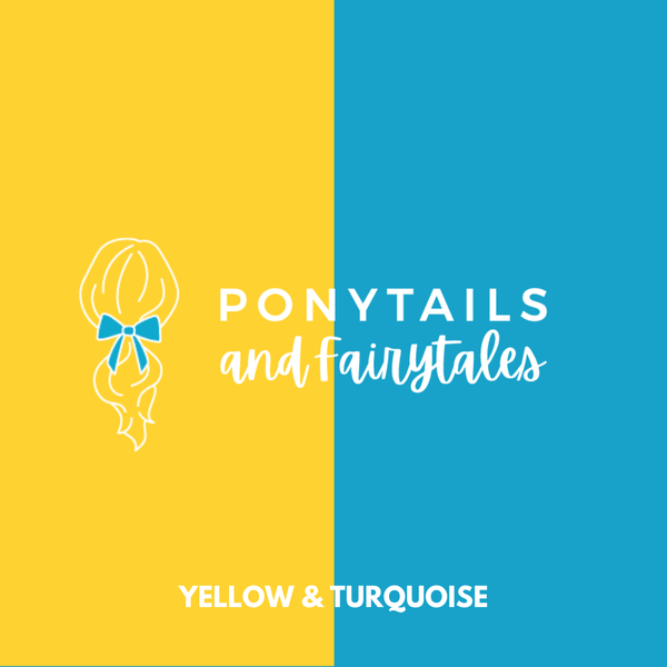 Turquoise & Yellow Hair Accessories - Assorted Hair Accessories - School Uniform Hair Accessories - Ponytails and Fairytales