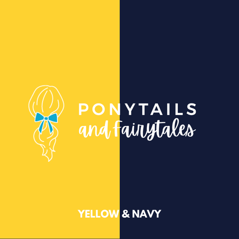 Yellow & Navy Hair Accessories - Ponytails and Fairytales