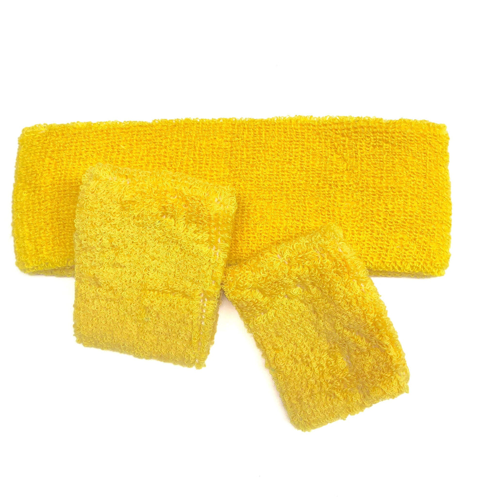Yellow Sweat Band Set (3pc) - Carnival and event - School Uniform Hair Accessories - Ponytails and Fairytales
