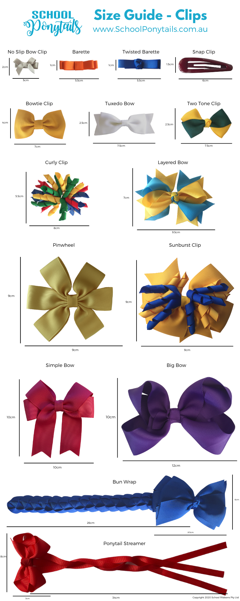 Size guide for hair clips by Ponytails and Fairytales