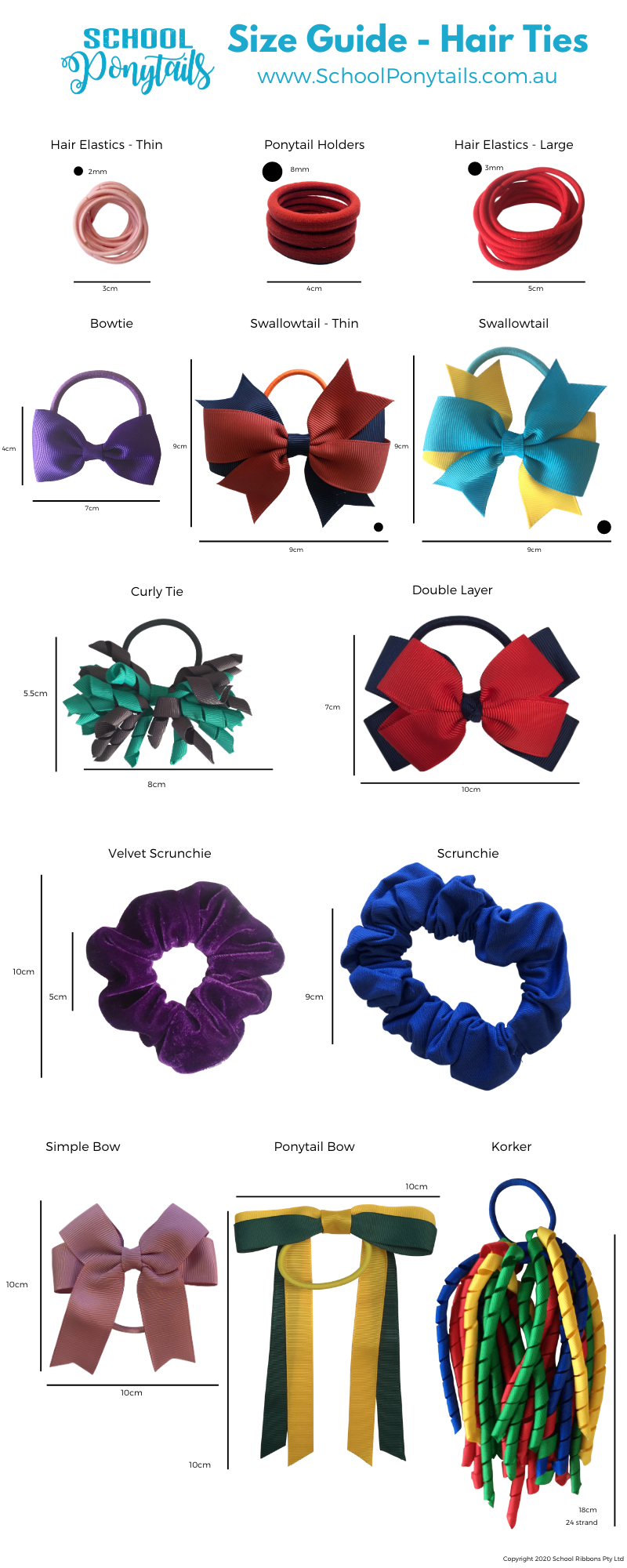 Size guide for hair ties and bobbles by Ponytails and Fairytales