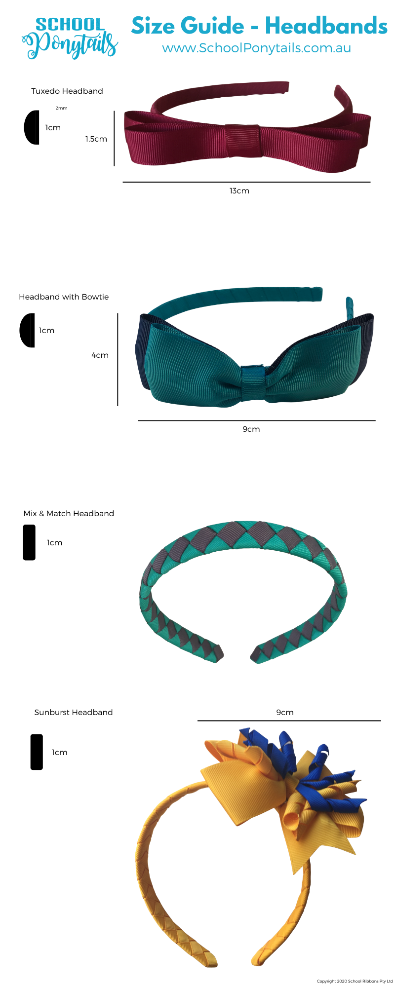 Size guide for headbands and hair bands by Ponytails and Fairytales