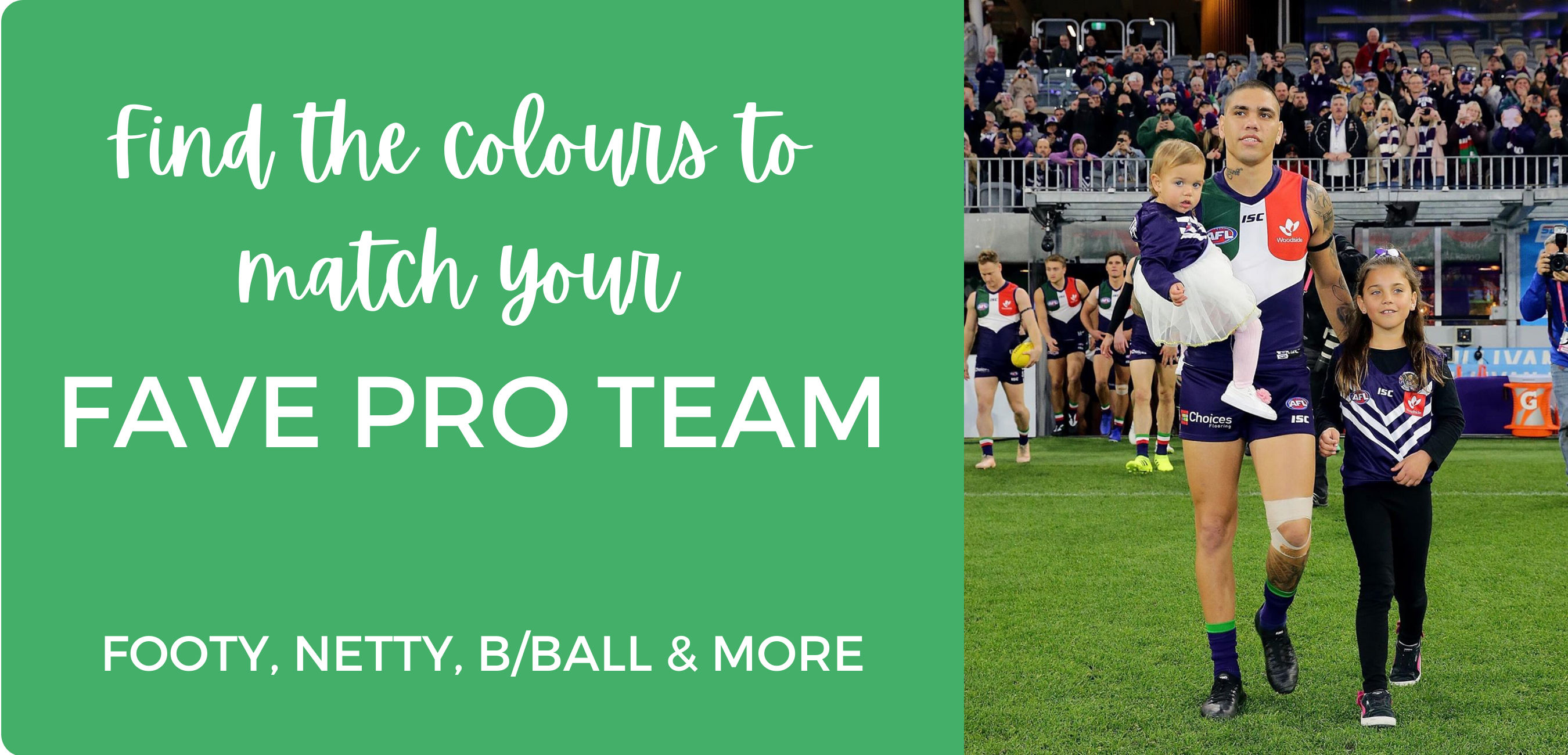find the colours to match your fave pro team - afl, suncorp super netball, a-league - ponytails and fairytales