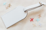 White Fly Away with Me Leather Luggage Tags