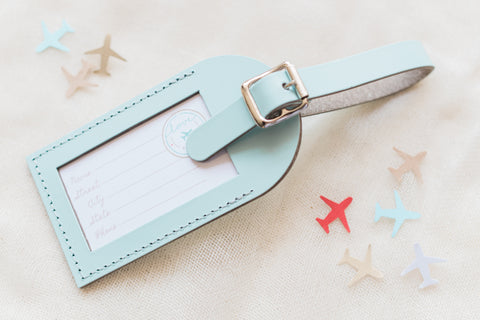 Sea Glass Fly Away with Me Leather Luggage Tags