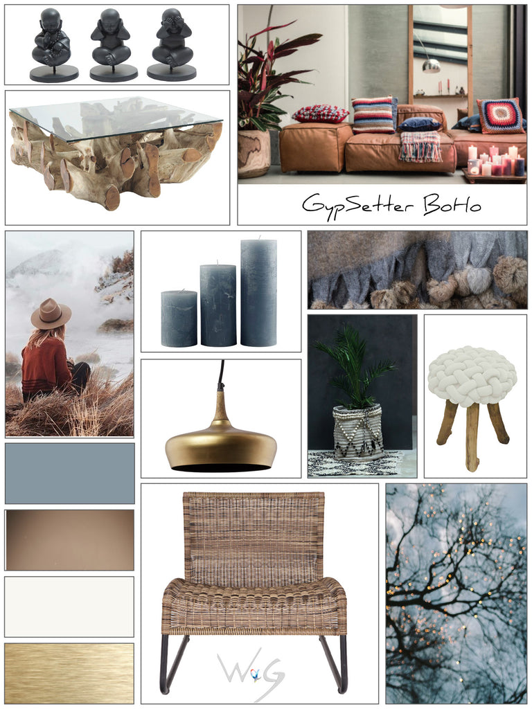 This collection is inspired by the Bohemian Gypsetter ~ that free-spirited, traveler who loves relaxed and eclectic home interiors with a little touch of luxury.  Natural materials are key to this look, but it is not rough and rustic. Leather, cashmere, wool and rattan are mixed with on-trend metals like brass and copper to add a touch of glam.