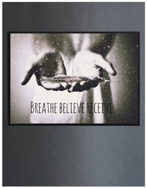 Free Spirit ~ Breathe, Art Print,White & Grey - White & Grey