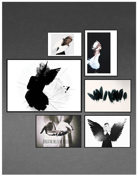 Free Spirit ~ Gallery Bundle, Art Print,White & Grey  - White & Grey