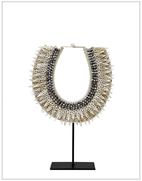 Jaka Shell Collar, Decoration,HK Living - White & Grey