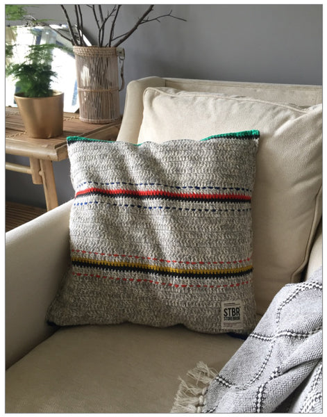 Paro Knitted Cushion, Cushions,HK Living - White & Grey