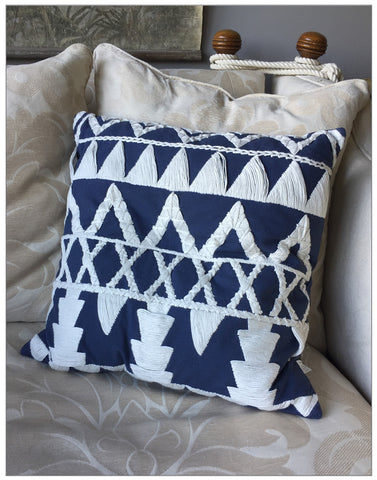 Siraha Embroidered Cushion, Cushions,Lene Bjerre - White & Grey