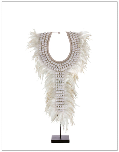 Sheba Feather Collar, Decoration,HK Living - White & Grey