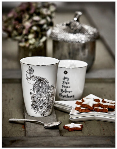 Nordic Peacock Mug, Decoration,Lene Bjerre - White & Grey
