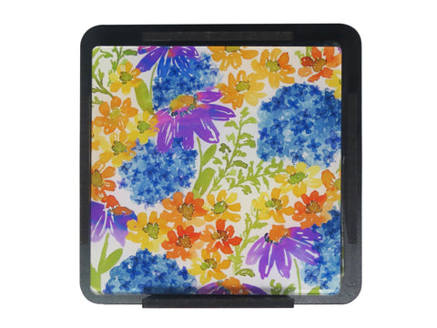 S/6 Coaster with Stand Acrylic - Daisy