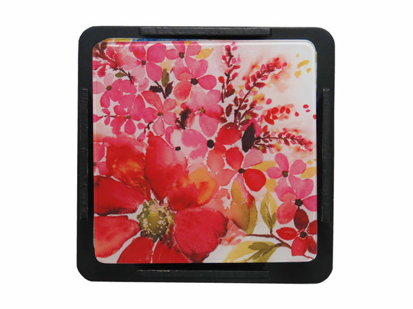 S/6 Coaster with Stand Acrylic - Pink Blossom