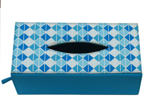 Triangle Blue Tissue Box Sleeve