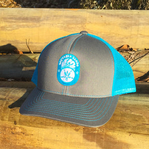 Snapback Trucker Blue & Graphite Hat - Southern-Sands-T-Shirts