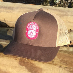 Snapback Trucker Brown & Khaki Hat w Pink - Southern-Sands-T-Shirts