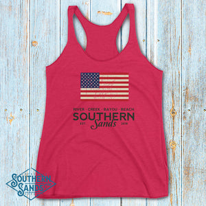 Old Glory Women's Racerback Tank - Southern-Sands-T-Shirts