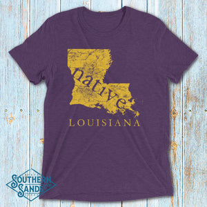 Louisiana Native Purple & Gold Premium T-Shirt - Southern-Sands-T-Shirts