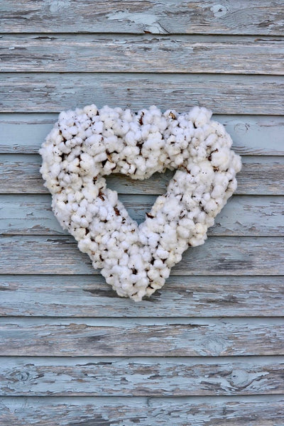 Cotton Boll Heart Shape Wreath