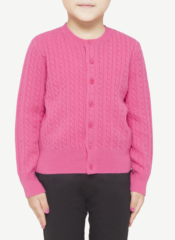 Kids 12-Gauge Round Neck Cable Cardigan   CRKC0040