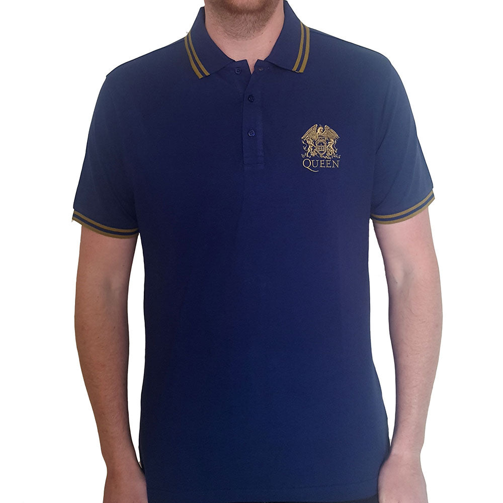 Queens Unisex Polo Shirt: Classic Crest Logo (Music)
