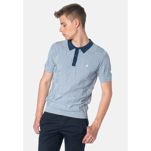 Batley Knit Polo (Dust Blue) - Merc