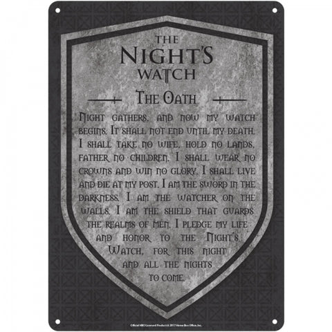 Night Watch Small Tin Sign (Game Of Thrones)