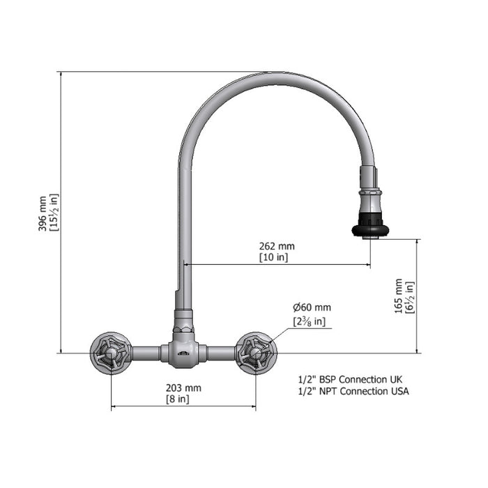 Steam Valve Wall Mounted Kitchen Mixer Tap with Removable Spray - 1012BS
