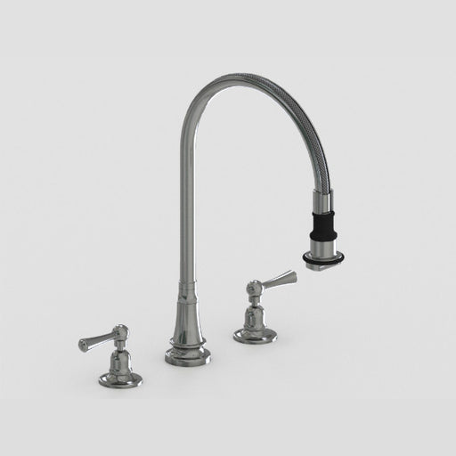 Steam Valve 3 Hole Lever Kitchen Mixer Tap with Removable Spray - 1032BS