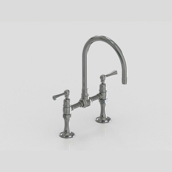 "Steam Valve Bridge Sink Mixer with 8"" Swivel Spout - 1214BS"