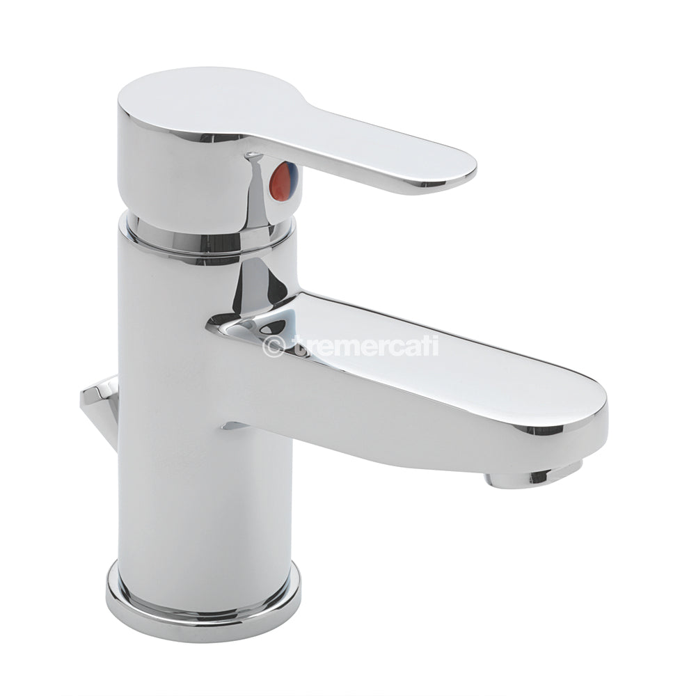 Tre Mercati 1230 Chrome Lollipop Mono Basin Mixer with Pop-Up Waste Full View