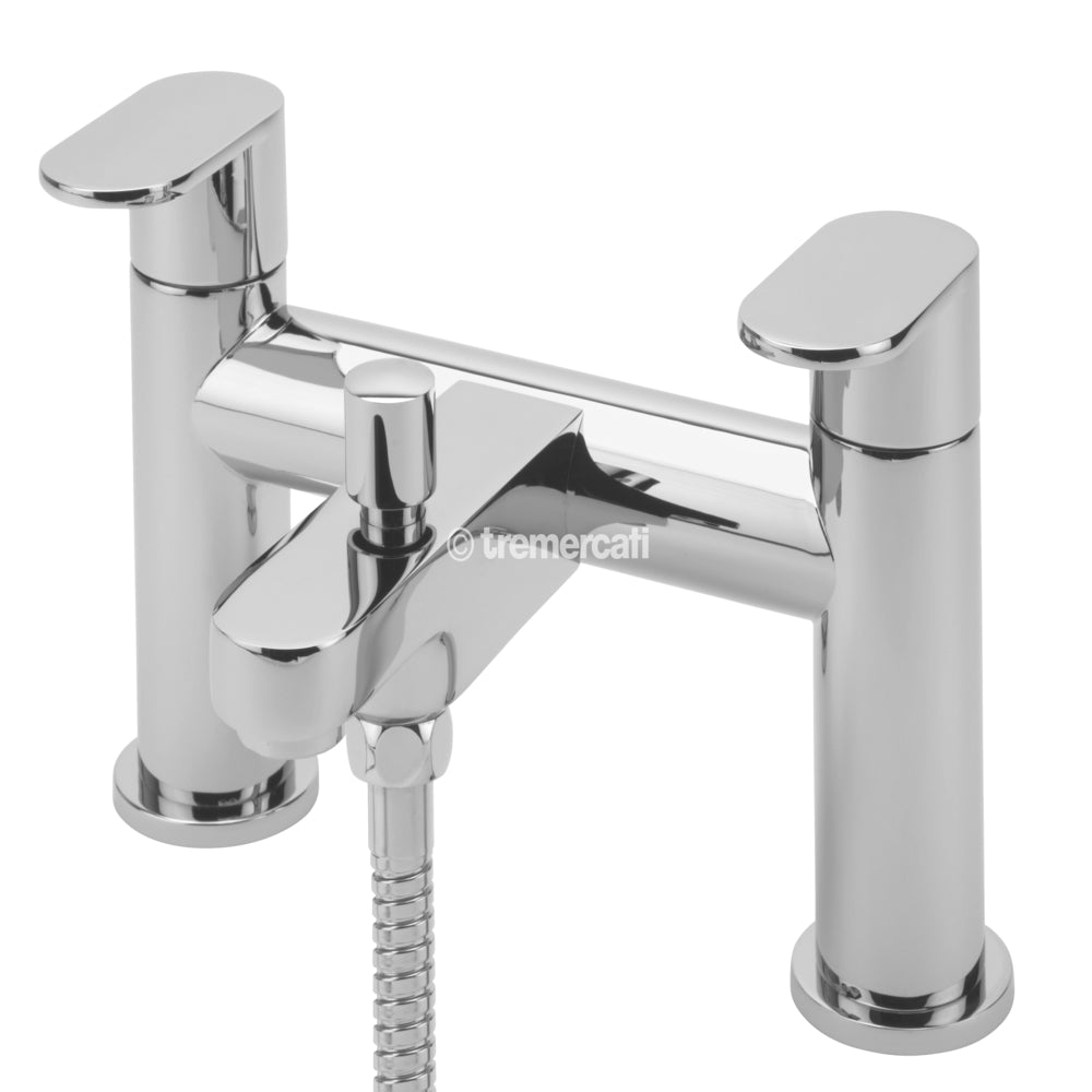 Tre Mercati 21050 Chrome Geco Pillar Bath Shower Mixer Front View