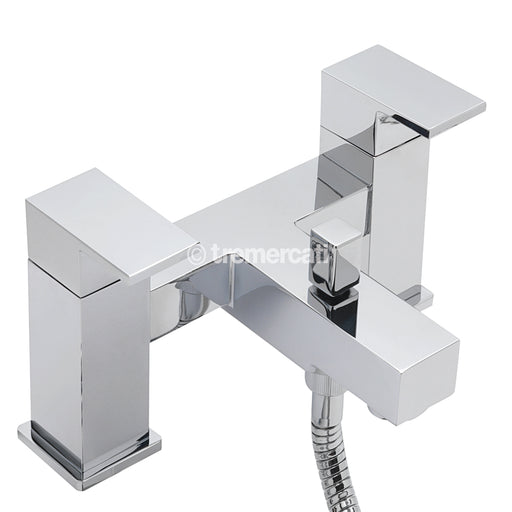 Tre Mercati 22355 Chrome Edge Pillar Bath Shower Mixer Complete with Kit Full View