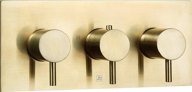 VOS brushed brass thermostatic concealed 3 outlet shower valve, horizontal