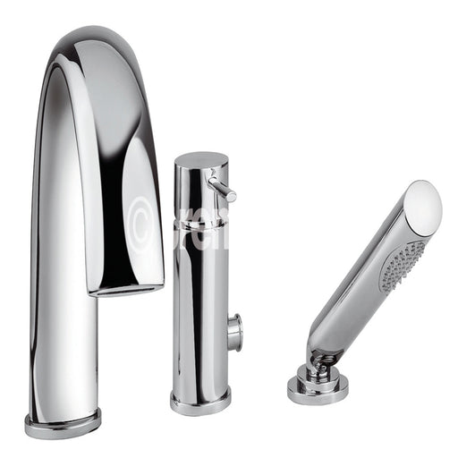Tre Mercati Chrome 42060 3 Hole Bath Shower Mixer Complete with Kit Full View