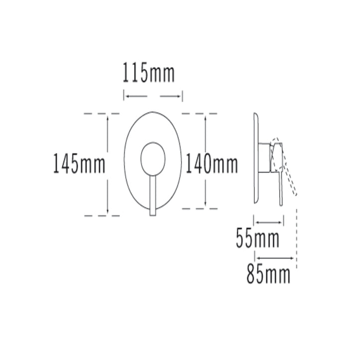 Tre Mercati Bella 2 Hole Wall Mounted Basin Mixer 42072 Dimensions