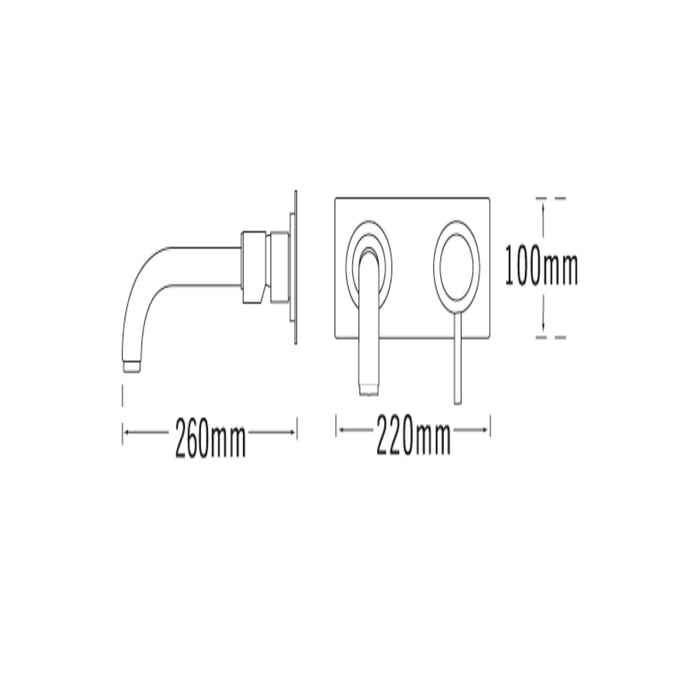 Tre Mercati Milan 2 Hole Wall Mounted Bath Filler 63035 Dimensions