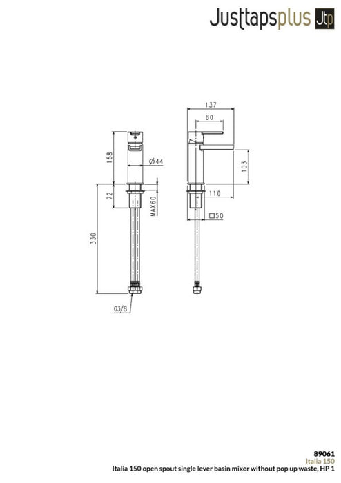 Just Taps Italia 150 Waterfall Tap 89061 dimensions and technical drawings