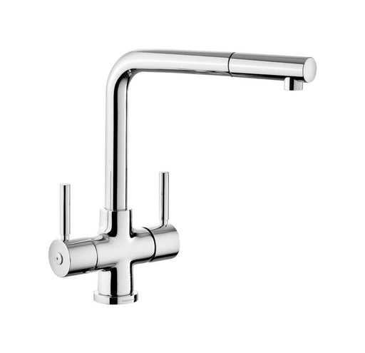 Rangemaster Pull Out Aquadisc 5 Dual Lever Chrome Kitchen Tap
