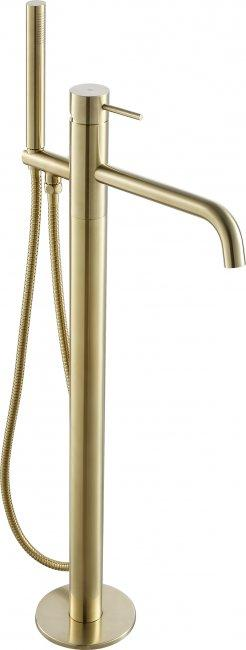 VOS brushed brass floor standing bath shower mixer with kit, HP 1
