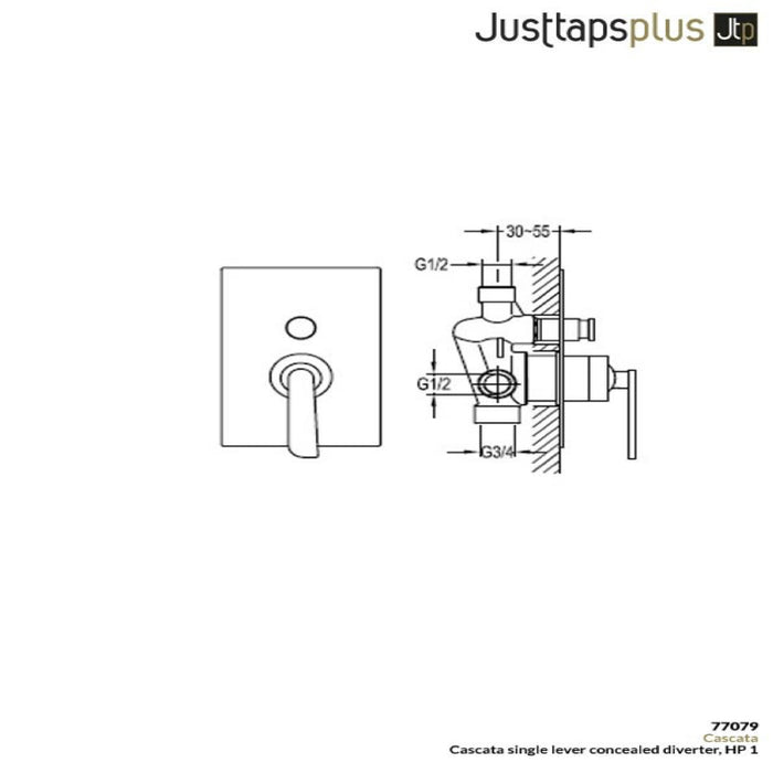 Dimensions of Just Taps Cascata Single Lever Diverter Valve