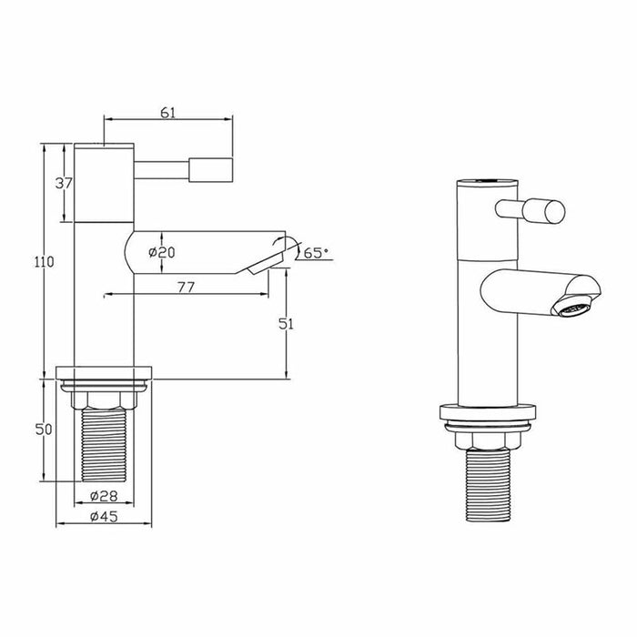 Dimensions of Mayfair Series F Basin Pillar Tap