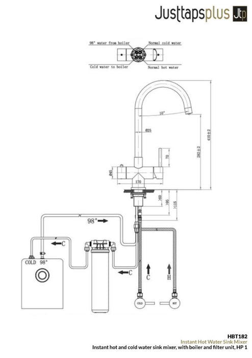 Just Taps HBT182 boiling water tap dimensions and technical drawings