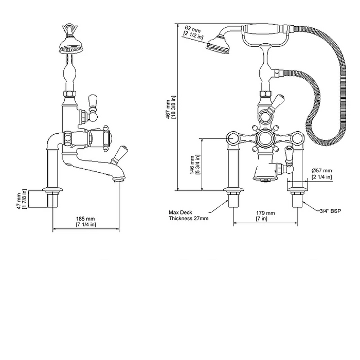 Dimensions of Hollys of Bath 2280 Thermostatic Bath Shower Mixer